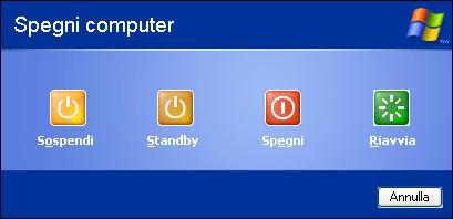 Windows XP Fare comparire il pulsante Sospensione nelle ...