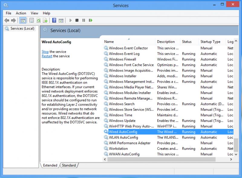 Lista dei servizi in Windows 8